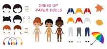 1427_Dress Up Paper Dolls. Set Of Cute Chibi Girls Characters. Flat Cartoon Style