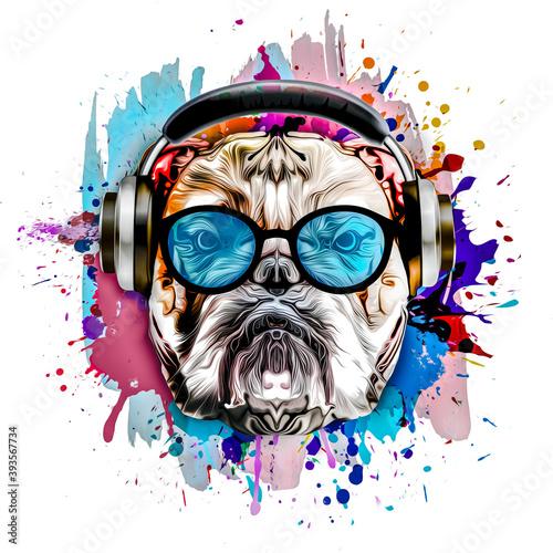 Fototapeta z intensywnie kolorowym  motywem psa w słuchawkach i okularach