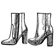 Hand Drawn, Sketch Female Ankle Boots