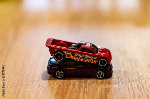 фотография POZNAN, POLAND - Oct 13, 2020: Two Mattel Hot Wheels toy car