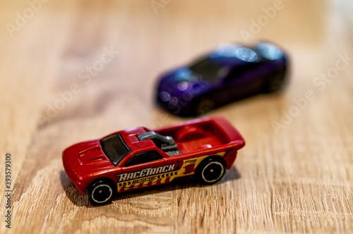 POZNAN, POLAND - Oct 14, 2020: Mattel Hot Wheels toy race car фототапет