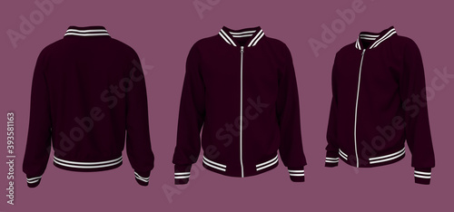 Bomber jacket mockup, design presentation for print, 3d illustration, 3d renderi Fototapet
