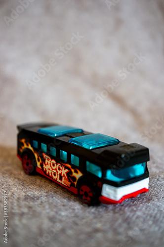 Платно POZNAN, POLAND - Oct 17, 2020: Mattel Hot Wheels toy model bus