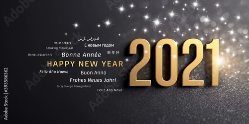 New Year date 2021 colored in gold and greeting words in multiple languages, on a glittering black card