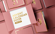 Christmas Advent Calendar Door Opening To Reveal A Message. Realistic Festive Vector Illustration.