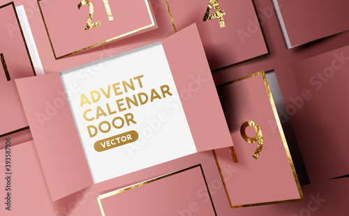 Obraz Christmas advent calendar door opening to reveal a message. Realistic festive vector illustration. - fototapety do salonu