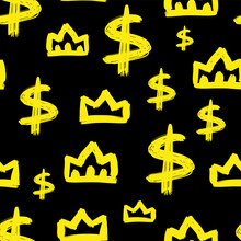 Yellow Crown And Dollar Sign Isolated On Black Background. Cute Seamless Pattern. Vector Flat Graphic Hand Drawn Illustration. Texture.