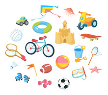 Vector Flat Design Cartoon Icons Set Of Baby Kids Children's Toys, Musical Instruments And Sports Equipment Objects Isolated On White Background