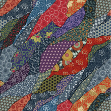 Traditional Japanese Fabric Patchwork Wallpaper Abstract Vector  Seamless Pattern