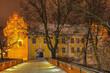 zimowa noc w Olsztynie w północno-wschodniej Polsce