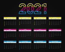 2021 Annual Calendar Colorful ...