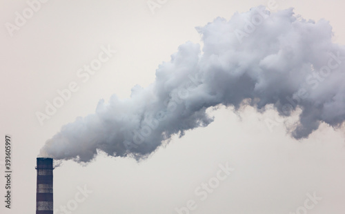 Fotografiet Smoke from a chimney at a factory