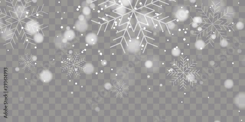 Photographie Vector heavy snowfall, snowflakes in different shapes and forms