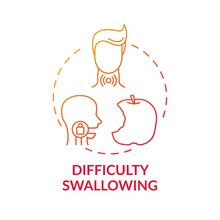 Difficulty Swallowing Concept Icon. Sore Throat Symptom Idea Thin Line Illustration. Choking And Coughing. Swollen, Tender Lymph Nodes. Painful Swallowing. Vector Isolated Outline RGB Color Drawing