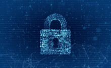 Abstract Image Of Lock Against Blue Background