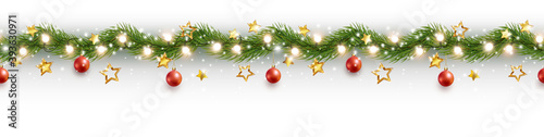 Border with green fir branches, stars, lights isolated on white background. Pine, xmas evergreen plants seamless banner. Vector Christmas tree garland decoration