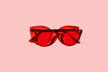 Trendy Modern Red Sunglasses O...
