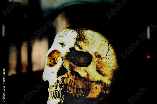 Photo A skull under a golden yellow contrasty light, over the blurred background of a church