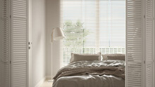 White Folding Door Opening On Cosy Peaceful Bedroom With Double Bed, Duvet And Big Panoramic Window With Venetian Blinds, Interior Design, Architect Designer Concept, Blur Background