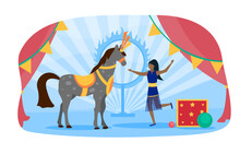Concept Of Circus Show, Performance. Women Trainer With Horse On Circus Scene. Girl Artist And Animal Wearing Carnival Costumes. Entertainment And Leisure. Flat Cartoon Vector Illustration