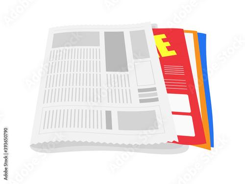新聞と折込チラシのイラスト Fototapete