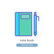 note book icon vector illustration. note book icon lineal color design.