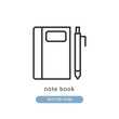 note book icon vector illustration. note book icon outline design.