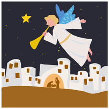 Christmas Angel Over Bethlehem. Starry Bethlehem Complete. Bible Merry Christmas Scene Of Holy Family. The Glorification Of Jesus Christ On The Night Before Christmas. Isolated Vector GraphicVector