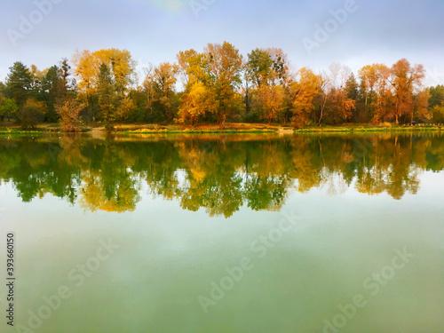 Fototapety, obrazy: Landscape lake trees fall autumn