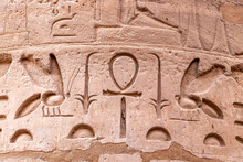 Hieroglyphs In Ruins Of The Karnak Temple Complext At Luxor