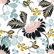 Vector Floral Seamless Pattern In Ethnic Style. Elegant Hand Drawn Texture With Flowers, Berries, Leaves. Modern Ornament In Teal, Yellow, Soft Pink, Black And White Color. Cute Abstract Background