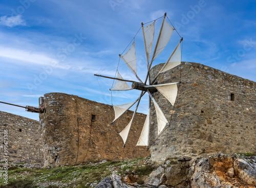 Obraz na płótnie Beautiful jib sail windmills, used to pump water in arid zones, particularly fou