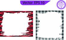 Rectangle Brush Borders And Frames, Pattern Geometric Vintage Frame, Design Plaid Tartan, Transparent Background.