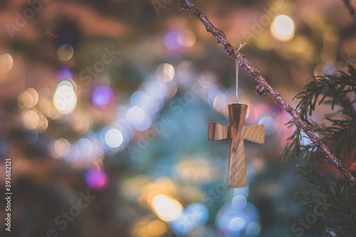 Foto Merry Christmas concept with wooden cross