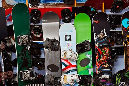 "Shop ""Crazy Snail"". Chernivtsi, Ukraine. November 19, 2020. Image of sport store with equipment for skiing."