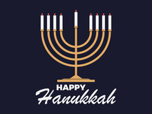 Happy Hanukkah. Menorah With Nine Candle. Jewish Festival Greeting Card. Vector Illustration