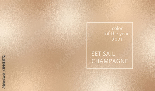 Obraz Abstract background on Set Sail Champagne color. Trendy color of the year 2021. Swatch background сoloring in trend color. Metallic effect sparkle texture foil. Design glitter for prints. Vector - fototapety do salonu