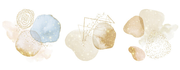 Gold Abstract Arrangements. Christmas glitter shiny dreamy. Blush, blue, white, beige watercolor illustration & elements on white background. Modern print set. Logo. Wall art. Poster. Business card.