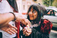 Girl In Halloween Costume, Tri...