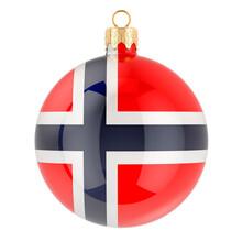Christmas Ball With Norwegian Flag, 3D Rendering