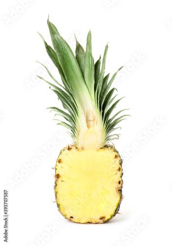 Half of fresh pineapple isolated on white - fototapety na wymiar