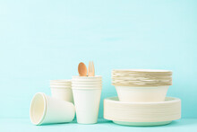 Biodegradable, Compostable, Disposable Or Eco Friendly Utensil (plate, Dish, Bowl, Cup) On Pastel Color Background, Sustainable Concept