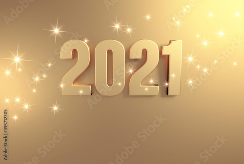 New year date 2021 colored in gold, on a festive golden background
