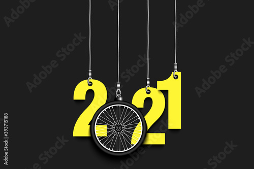 2021 New Year and bicycle wheel as a Christmas decorations hanging on strings. 2021 hang on cords on an isolated background. Design pattern for greeting card. Vector illustration