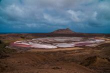 Scenic View Of Desert Against Sky, Pedra De Lume In Cabo Verde, Salt Crater And Salt Lake