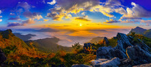 Panorama Sunrise And Misty At Doi Phatang Viewpoint, Chiangrai Province, Thailand.