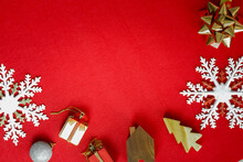 Christmas And Happy New Year 2021 Concept Decorations On Red Carpet Background With Copy Space