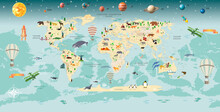 Children's Wallpaper. World Map With Animals. Space With Planets.
