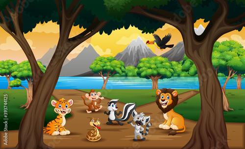 Fototapeta premium Group of wild animals in the nature landscape