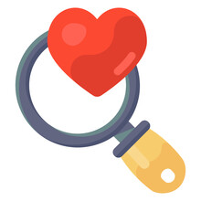 Searching Passion Inside Magnifier Glass, Flat Icon Of Finding Love